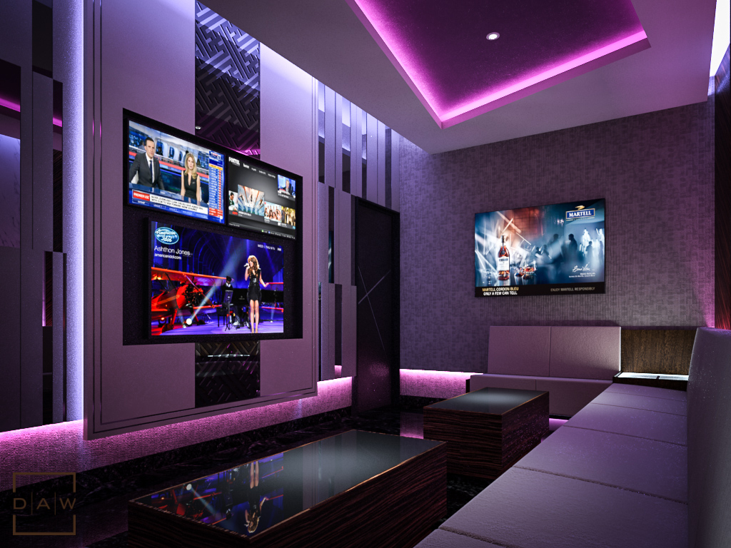 Xq executive private lounge karaoke daw interior for Karaoke room design ideas